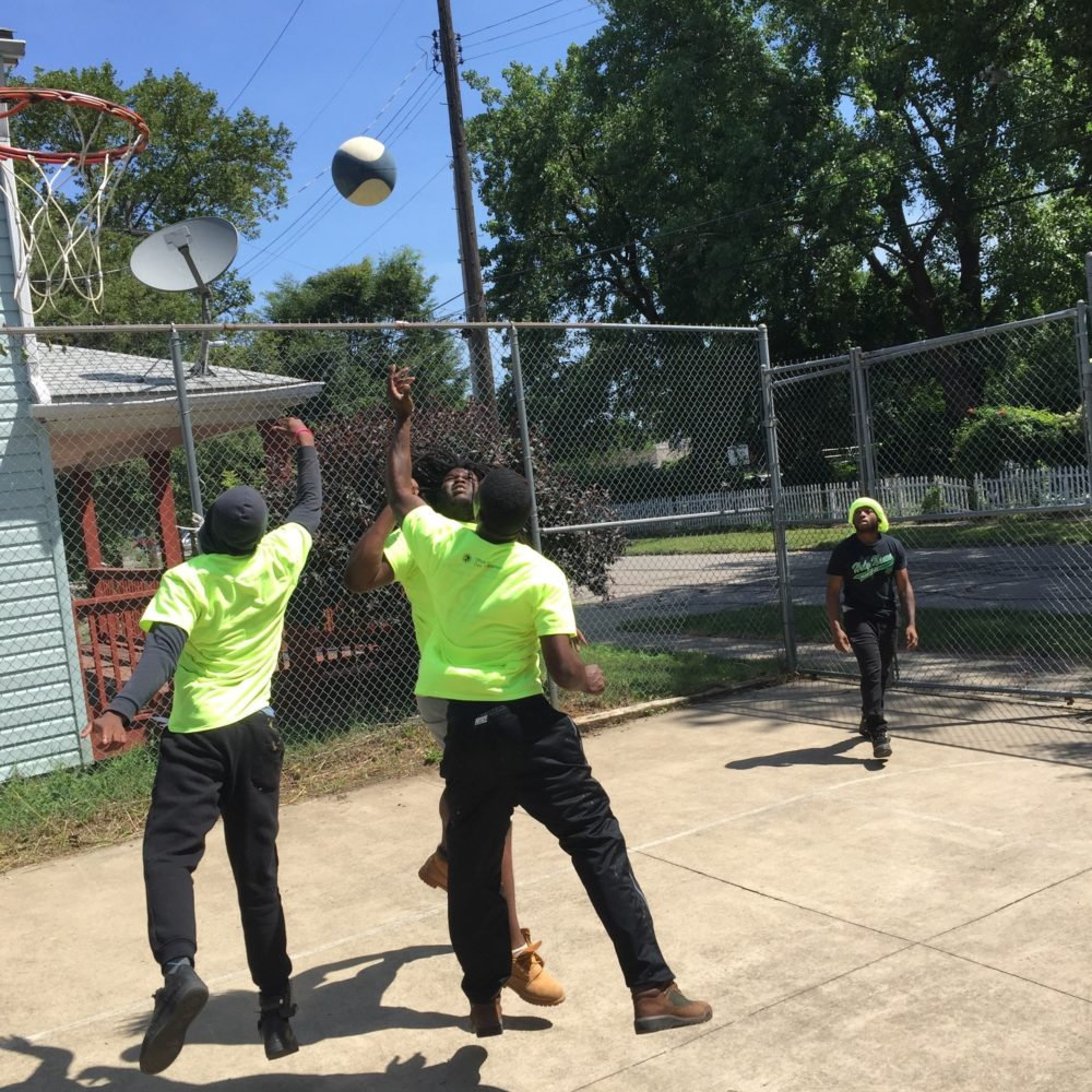 Kids of 216 take a break to play basketball