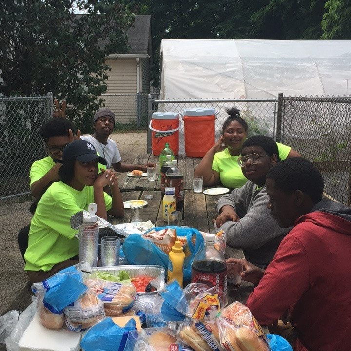 Lunch time at job site for the Kids of 216